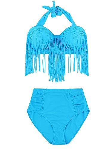 Liangcha-0401 Regalos del Amante Atractivo Atractivo Caliente de Las Mujeres más el tamaño de Cintura Alta Empuja hacia Arriba el Traje de baño de Moda Tassle (Color : Blue, Size : XL)
