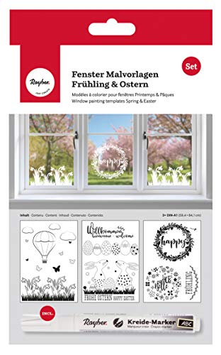 Rayher 70037000 Malvorlagen für Fensterdeko mit Kreidemarker, Fensterbilder zum Malen für Frühling und Ostern, 3 Vorlagen mit Kreidestift, 59,4x84 cm