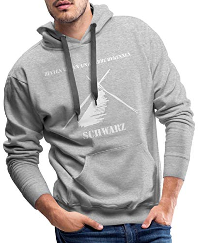 Spreadshirt Kothe Schwarz Zelten Gehen und Farbe Bekennen Männer Premium Hoodie, XXL, Grau meliert