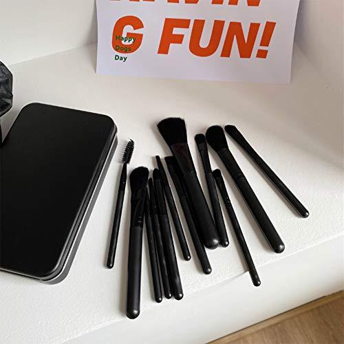 Unknow DAMM All Black Simple Makeup Brush Set 12 Packs Lavable Soft Eyeliner Brush Eyeliner Brush Foundation Brush Send Black Box