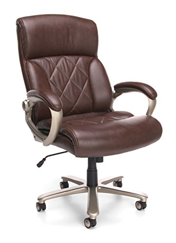OFM Core Collection Avenger Series Big and Tall High-Back Leather Executive Chair, in Brown with Champagne Finish