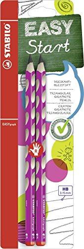 Ergonomischer Dreikant-Bleistift für Rechtshänder - STABILO EASYgraph in pink - 2er Pack - Härtegrad HB
