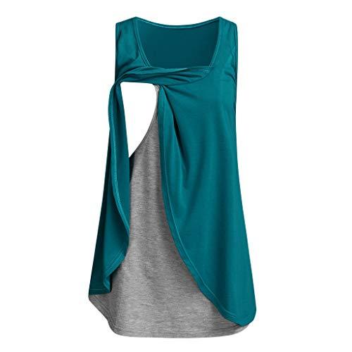 pitashe_Stillshirt Angebote,Deals, Umstandstop Damen Umstands Stilltop Stilloberteil Doppelschicht Einfarbig Ärmellos Nähen Stillen Umstandsmode Kleidung füttern Mode Hemd T-Shirt Top Oberteile