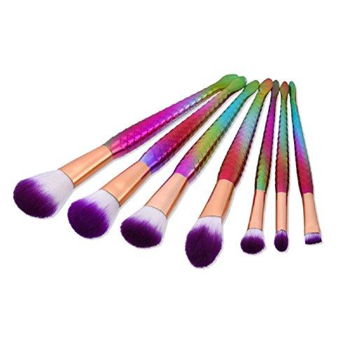 Frcolor kit pinceaux maquillage Eyeshadow Eyeliner Brosses de maquillage cosmétiques avec sirène en forme de poignée colorée 7 pièces