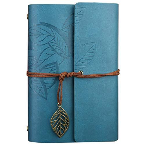 FNMYH Cuadernos Hojas de otoño Retro Creativo Patrón de Hojas Sueltas Cuaderno del Diario de Viaje para la Oficina de la Oficina, etc, Tamaño: L (Color : Blue)