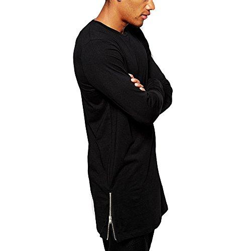 Camiseta de Manga Larga para Hombre, con Cremallera Larga, Color Negro