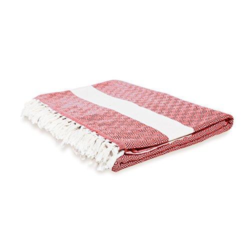 Lumaland Baumwolldecke Tagesdecke kräftige Farben aus 100prozent Baumwolle in Premiumqualität ca. 200 x 240 cm Rubin Rot