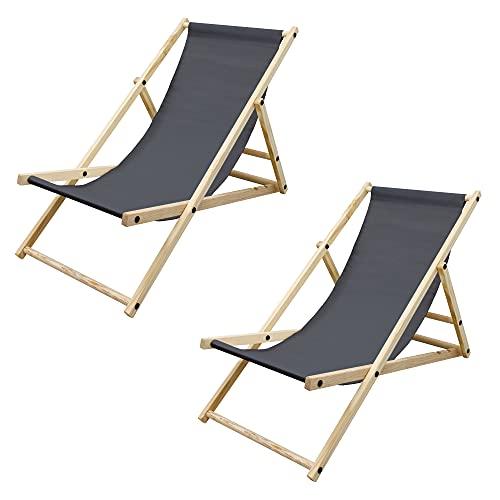 ECD Germany 2X Sillas de Playa de Madera de Pino 3 Posiciones de Reclinación Plegable Tumbona Antracita Tradicional de Sol...