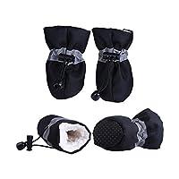 kawayi-桃 4ピース防水冬のペットの犬の靴アンチスリップ雨雪ブーツ履物厚い暖かい小さな猫犬子犬犬靴下ブーティ-Black-XS