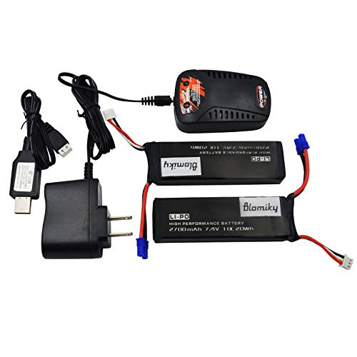 Blomiky 2 Pack 7.4V 2700mAh and Charger for H ubsan H501S and H501S Pro RC Quadcopter Drone H501S Battery Black 2