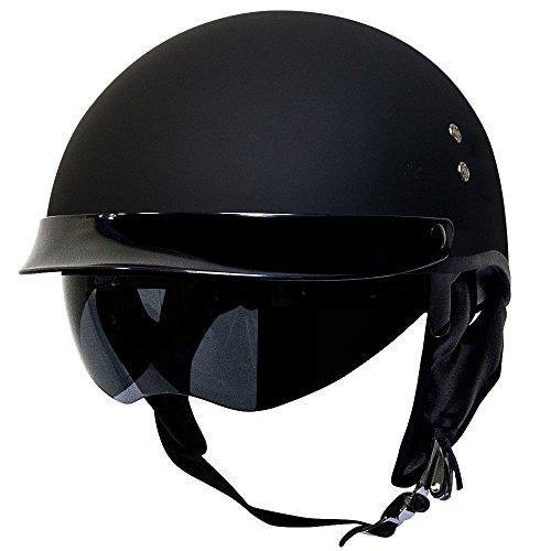 Voss 888FRP Hand Laid Fiberglass DOT Half Helmet with Drop Down Sun Lens for Cruiser Street Bike Men and Women - L - Matte Black