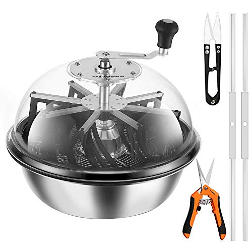 VIVOSUN 19 inch Bud Leaf Bowl Trimmer with Clear Visibility Dome, Sharp Stainless Steel Blades for Spin Cut, Solid Metal Gear Box, and Hand Pruner (Upgraded Version)
