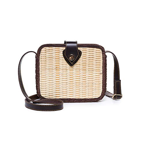 JOSEKO Crossbody Stroh Tasche, Damen Stroh Handtasche Umhängetasche für Strandreisen und Den Täglichen Gebrauch Rattan Handgemacht Bambus Quadrat PU Schnallentasche(Weiß#01)