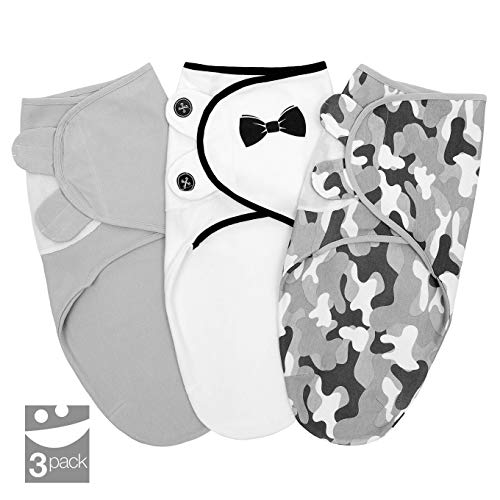 Baby Swaddle Blanket for Newborn Boy, 0-3 Months Small/Medium, 3 pcs Infant Swaddle Sack in a Gift Box, 100% Cotton Adjustable Swaddle Wrap, Army/Bowtie/Grey (Grey)