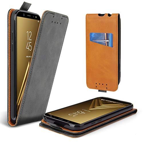 Lelogo Galaxy A8 2018 Hülle, Leder Tasche für Samsung Galaxy A8 (2018) Handyhülle Flip Hülle Schutzhülle (Dunkel Grau)