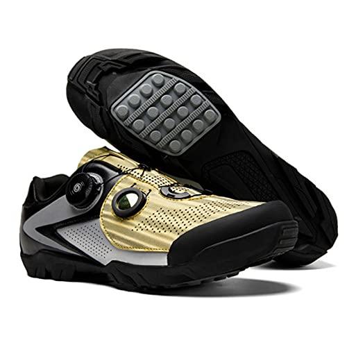 Sebasty Zapatos de Bicicleta de Montaña Ligeros y Transpirables,Zapatillas de Deporte de Bicicleta MTB,Zapatos de Bicicleta de Carretera de Cuero de Microfibra,Yellow-40