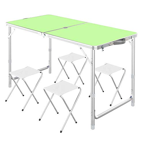 FIONAT Mesa Plegable Camping Aluminio, Altura Regulable Plegables Mesa de Jardín con...