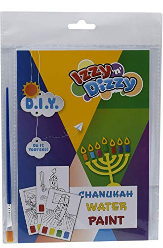 Hanukkah Water Paint Art Kit - Includes 8' x 6' Board and Paint Brush - Chanukah Arts and Crafts - Gifts and Games
