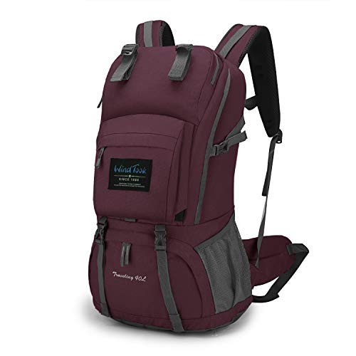 Wind Took 40L Damen Rucksack Wanderrucksack Trekkingrucksack Daypack mit Regenschutz, 55 x 33 x 20 cm, Lila