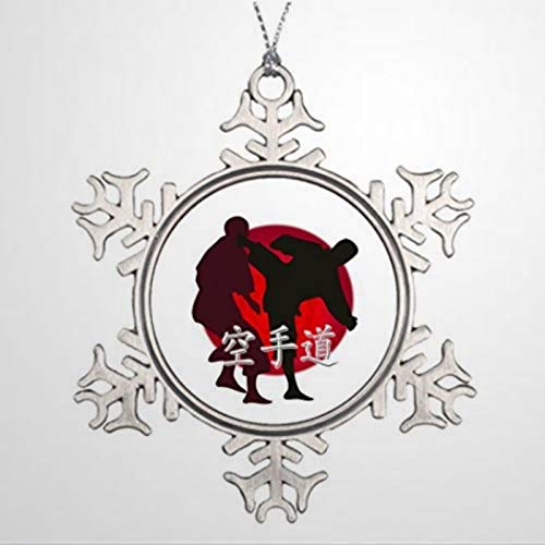 BYRON HOYLE Alloy Ornaments Silhouette of Karate Fight Red Circle Backg Christmas Tree Christmas Snowflake Ornaments Xmas Decor Wedding Ornament Holiday Present