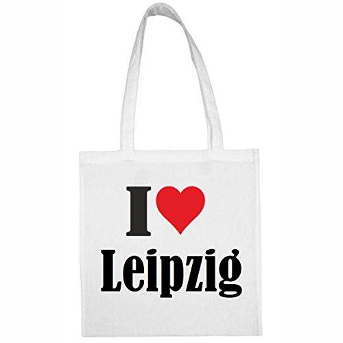 Tasche I Love Leipzig Größe 38x42 Farbe Weiss Druck Schwarz