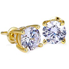 KEEP SHINY FOREVER: Every CZ stone is hand-selected 5A quality, which are totally clean and transparent, similar shining with real diamonds. We adopt 0.3μm gold plating for 5 times, so it won't turn your skin green and assures no color fading for 3-5...