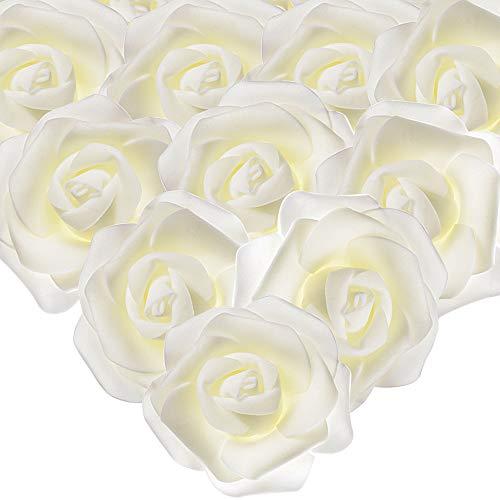 MEJOSER 50er Schaumrosen Künstliche Blumen Rosenköpfe Rosenblüten Foamrosen in Creme Brautstrauß DIY Party Hause Hochzeit Deko zum Basteln