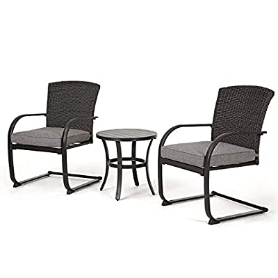 Grand patio 3 Piece Wicker Conversation Set with C-Spring Motion, Outdoor Bistro Set with Steel Table, Furniture Set (Grey Cushions)