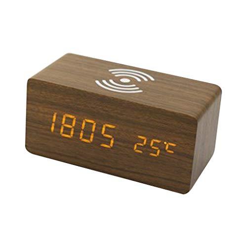 AERVEAL Reloj Despertador Digital Reloj de Escritorio led eléctrico de Madera para Dormitorio de Carga inalámbrica, Reloj Despertador