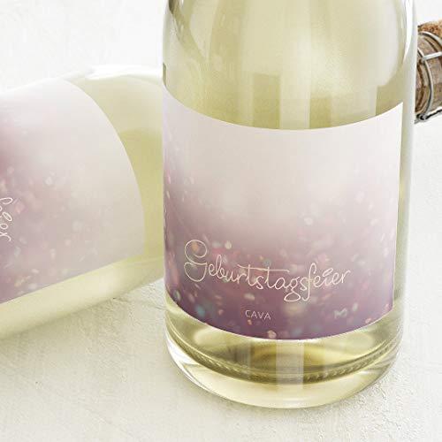 Etiketten für Flaschen, Sparkle, Sticker, selbstklebend, praktisch, individuell mit Wunschtext zum Geburtstag, für Sektflaschen, als Tischdekoration, Querformat, ab 10 Stück