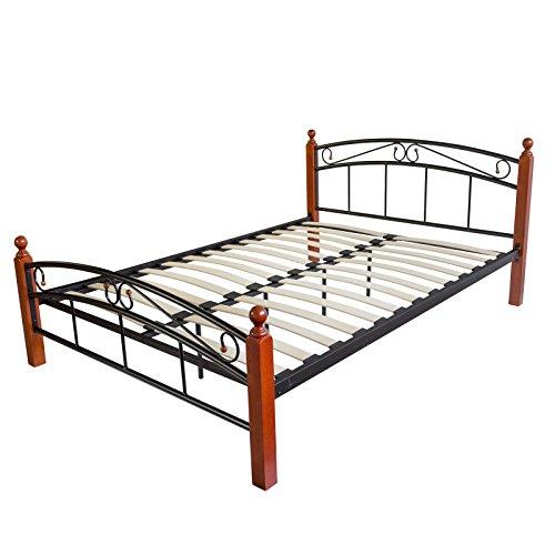 Homestyle4u 605, metalen bed 180 x 200 zwart bruin, bedframe met lattenbodem