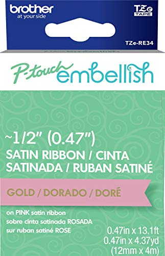 Brother P-touch Embellish Gold Print on Pink Satin Ribbon TZERE34 ~½' de ancho x ~13.1' de largo...