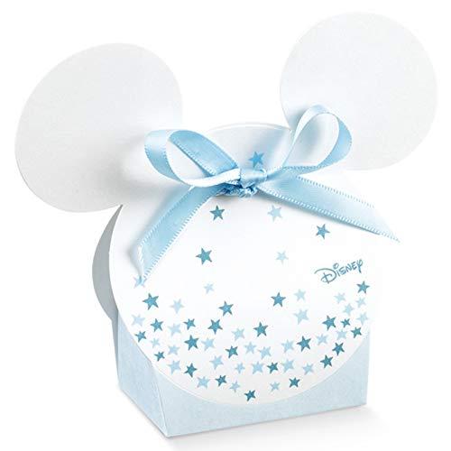 12 Scatolette portaconfetti bianche e celesti con stelline blu a forma di sagoma di Topolino, firmate Disney, confettate nascita, battesimo, compleanno bimbo (senza confezionamento)