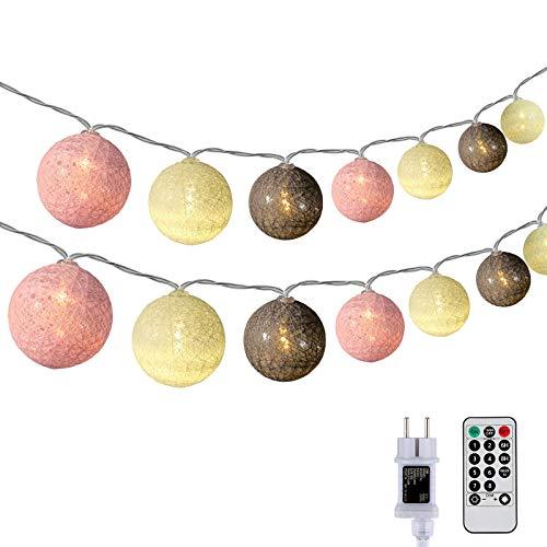 DeepDream Kugeln Lichterkette 6.6m 30 LED Cotton Ball Lichterkette Dimmbar Baumwollkugeln Lichterkette Innen Lichterkette mit Fernbedienung und Timer für Zimmer Kinderzimmer Hochzeit Party (Rosa)