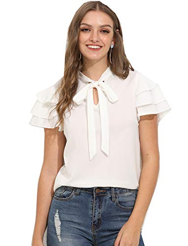 Romwe Women's Stretchy Short Sleeve Layered Bow Tie Neck Work Office Blouse Shirt Top White M