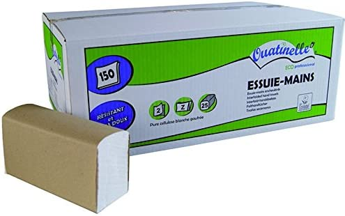 ESSUIE MAINS OUATINELLE Carton de 25 paquets - 3750 feuilles 220x230 Pliage Z - 2 plis Blanc - ECOLABEL