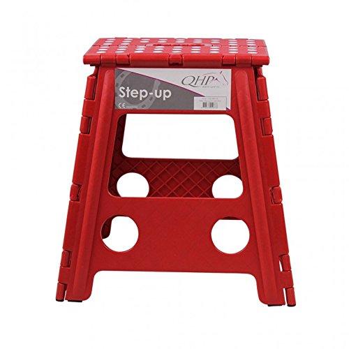 QHP Step up Hocker Aufstieghilfe Kunststoff klappbar Höhe 39 cm (Leuchtend rot)