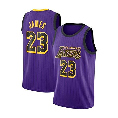 DDOYY New Lakers # 23 LeBron James - Camiseta bordada para hombre, diseño de camiseta de baloncesto (talla S-2XL), morado, S