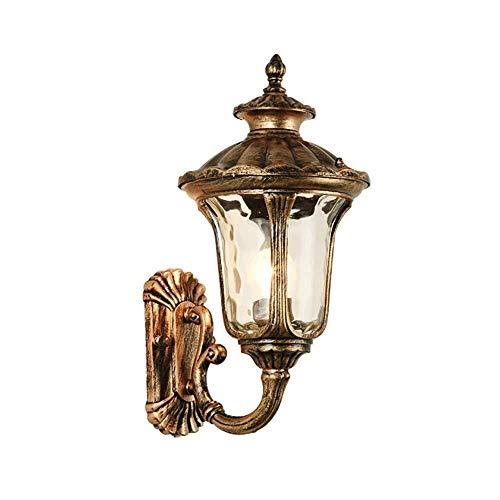 Wandlamp met glanzend licht, leuke wandlamp voor balkon, terras, wandlamp, villa, buitendeur, convexer gordijn van glas, oppervlak van ijzer + 38 x 17 cm
