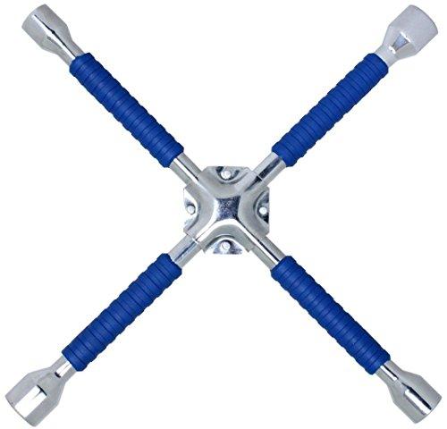 Cartman 16 Inch Universal Heavy Duty Lug Wrench, Non-Slip 4-Way Cross Wrench