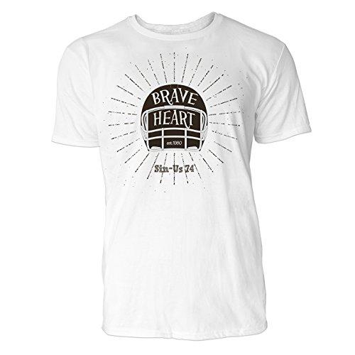 Herren T Shirt Brave Heart (Weiss) Freizeit/Sport/Club T-Shirt Crew Neck NOOS Original