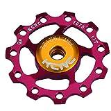 KCNC 自転車 軽量 ベアリング内蔵 ディレーラーパーツ ジョッキーホイール 11T プーリー 11S/10S/9S レッド 304392