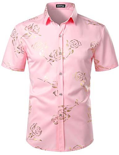 ZEROYAA Mens Hipster Gold Rose Printed Slim Fit Short Sleeve Button Down Dress Shirts ZZCL41 Pink Medium