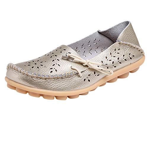 Damen Sommer Casual Slipper Flatschuhe Low-top Ankle Schuhe Strandschuh Frauen Mokassins Bootsschuhe Bequem Hohl Loafers Freizeit Schuhe Flache Fahren Halbschuhe Slippers TWBB