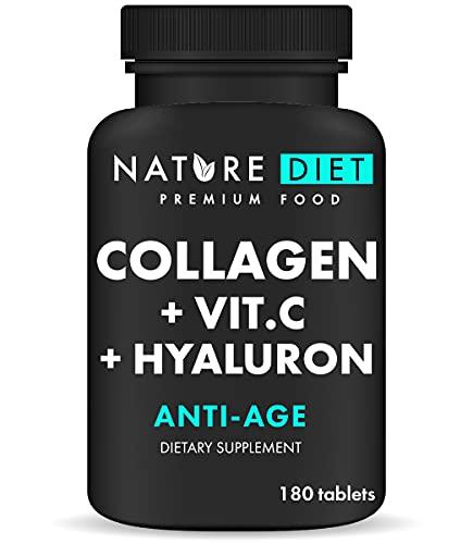 Nature Diet - Colágeno con ácido hialurónico y vitamina C, 180 tabletas, 500 mg | Antienvejecimiento | Colágeno hidrolizado