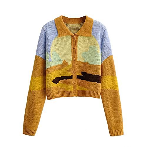 Y2K - Jersey de punto para mujer, estilo informal, con botones, manga larga, con solapa, de punto, cárdigan y graffiti marrón S