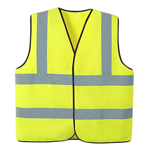 Chaleco de alta visibilidad Chaleco reflectante, Caja visible chaleco de seguridad 2 piezas de Uniformes ligero respirable Noche Chaleco de seguridad (Color : Fluorescent yellow)