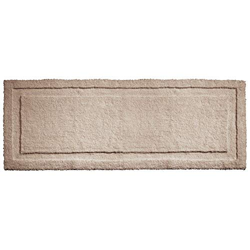 mDesign Soft Microfiber Polyester Non-Slip Extra-Long Spa Mat/Runner, Plush Water Absorbent Accent Rug for Bathroom Vanity, Bathtub/Shower, Machine Washable - 60' x 21' - Linen/Tan
