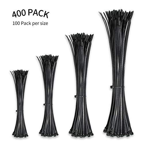 Fascette stringicavo da 3,6 mm, resistenti, in nylon nero di alta qualità, per casa, ufficio, garage e officina, dimensioni: 100 mm, 200 mm, 250 mm (1