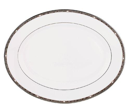 Lenox Pearl Platinum Bone China 5tlg. Lenox, Perl-Platin (Pearl Platinum), feines Geschirr Oval Platter, 16-in weiß